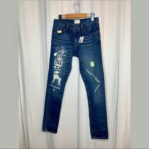 NWT Zara x Milicia Grafuca COLLAB painted jeans